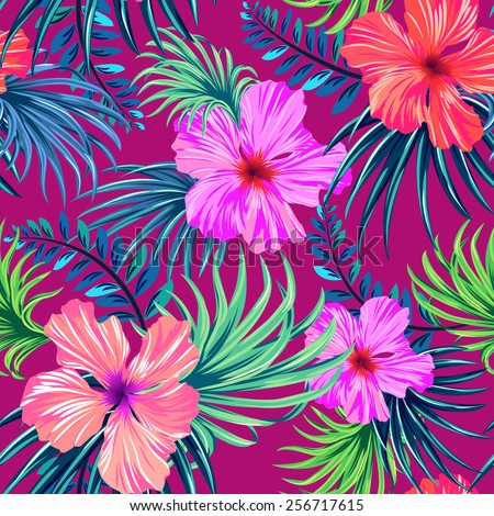 vector seamless tropical pattern. hibiscus and palm leaves in classic vintage Hawaiian design. Colorful beautiful island flowers.  - stock vector