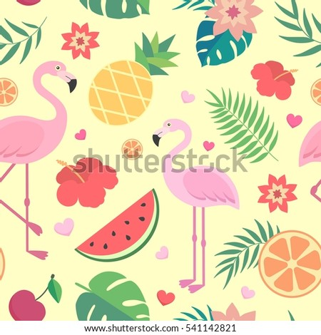Cartoon wallpaper stock images royalty free images vectors vector seamless tropical pattern palm leaves pineapple flamingos exotic flowers watermelon voltagebd Images