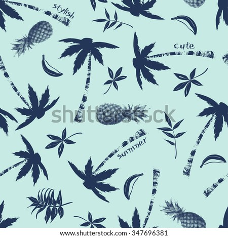vector seamless tropical print. palm trees, graphical, pineapple,  leaves, leaf, words, slogans, nature, spring summer time pattern, banana, fruits, ocean flora. - stock vector