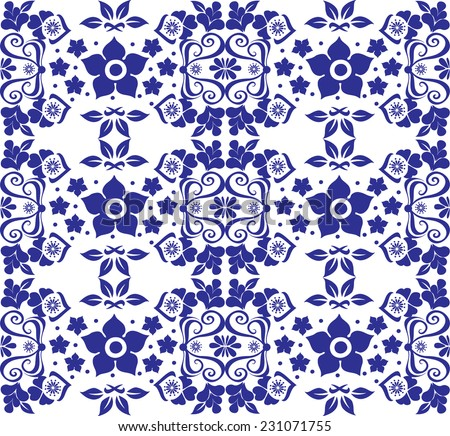 Vector seamless two color pattern with decorative flowers,abstract butterfly, polka dots in white background - stock vector