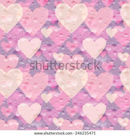 Vector seamless Valentine's Day pattern. Holiday background with repetitive hearts and water drops. Cute colorful wedding wallpaper. Eps10 vector seamless backdrop. - stock vector
