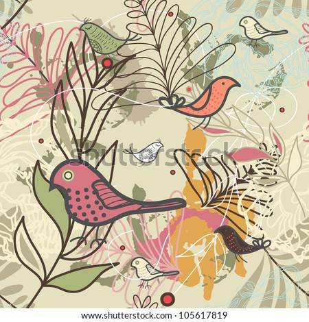 Vector seamless vector texture with herbals and birds