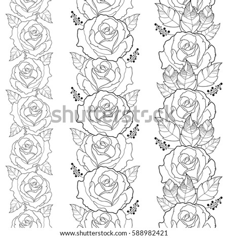 Vector Seamless Vertical Border With Outline Rose Flower And Foliage In Black Isolated On White Background