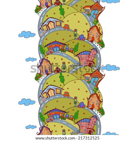 Vector seamless vertical pattern with cartoon houses in summer colors - stock vector