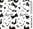 Vector Seamless Vintage Hipster Pattern - stock vector