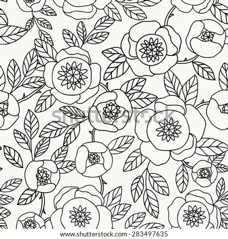 Vector seamless vintage pattern with flower.Can be used for desktop wallpaper or frame for a wall hanging or poster,for pattern fills, surface textures, web page backgrounds, textile and more - stock vector