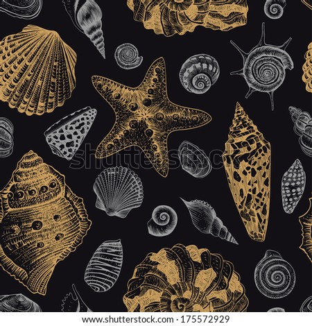 Vector seamless vintage pattern with gold and silver seashells on black background.