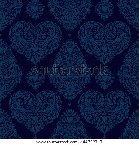 Vector Seamless Vintage Pattern With Hearts Heart