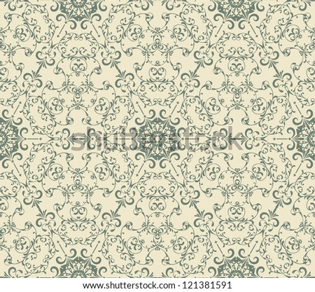 vector seamless  vintage seamless   pattern with  highly detailed hexagon snowflakes, fully editable eps 8 file, pattern in swatch menu - stock vector