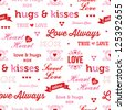 Vector seamless vintage typographic love background. Great for Valentine's Day, scrapbook, greeting cards, engagement, wedding, anniversary, gift wrapping paper, surface textures, textiles. - stock photo