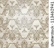 vector seamless vintage wallpaper pattern on crumpled paper texture, fully editable eps 10 file with clipping mask and pattern in swatch menu - stock vector