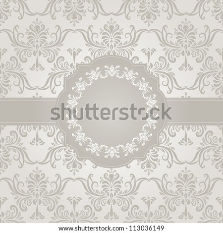vector seamless vintage wallpaper pattern on gradient background and frame for your text, fully editable eps 8 file with clipping mask and pattern in swatch menu - stock vector