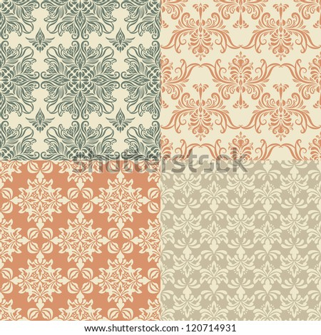 vector seamless vintage wallpaper patterns, fully editable eps 8 file with clipping mask and patterns in swatch menu - stock vector
