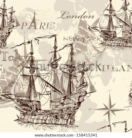 Vector seamless wallpaper design with old-fashioned ship and map - stock vector