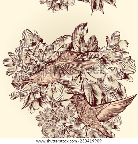 Vector seamless wallpaper pattern with birds and flowers - stock vector