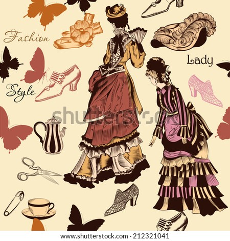 Vector seamless wallpaper pattern with old- fashioned woman - stock vector