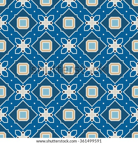 Vector Seamless Wallpaper. Vintage Pattern. Retro Blue Background  - stock vector