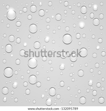 Vector Seamless Water drops with highlights on white background - stock vector