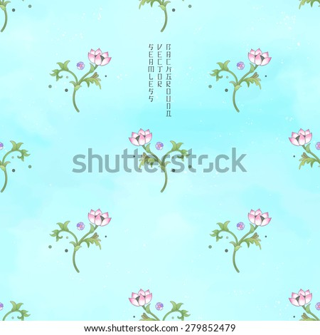 Vector seamless watercolor background. Imitation of chinese porcelain painting. Lotus flowers and leaves are painted by watercolor.  - stock vector