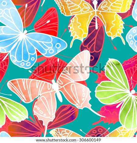 Vector Seamless Watercolor Butterfly Pattern. Butterfly pattern with of colored on turquoise background. Background for your design packaging, fabric, wallpaper, scrapbook and etc. Vector illustration