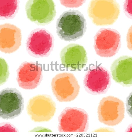 Vector seamless watercolor dots pattern - stock vector