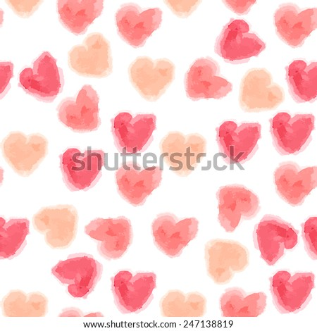 Vector seamless watercolor hearts background - stock vector