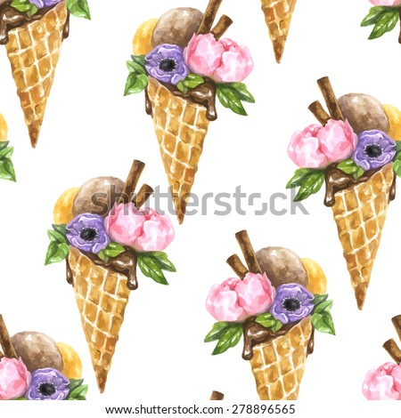 Vector seamless watercolor pattern with composition of flowers peony and anemone and tasty ice cream with cinnamon in waffle cone - stock vector