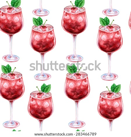 Vector seamless watercolor pattern with fresh cherry cocktail in wineglass - stock vector