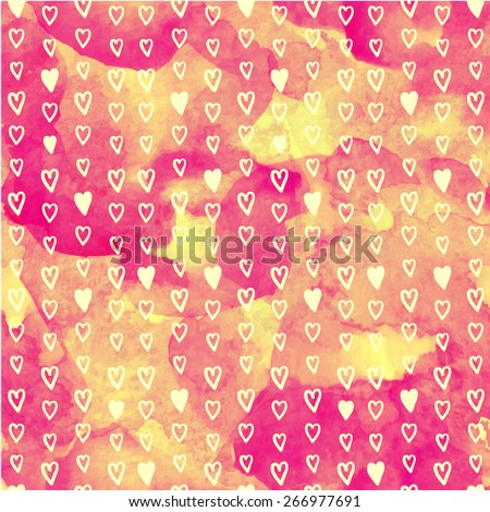 Vector seamless watercolor pattern with hearts. Orange background. Can use for gift wrapping paper, scrapbook, textiles, baby announcement, Valentine's Day, Mother's Day, Easter, wedding. - stock vector