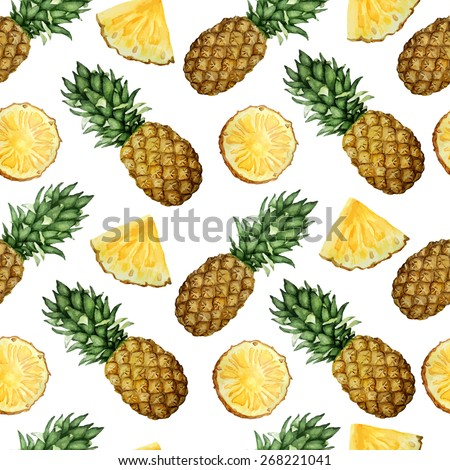 Vector seamless watercolor pattern with pineapples.  - stock vector