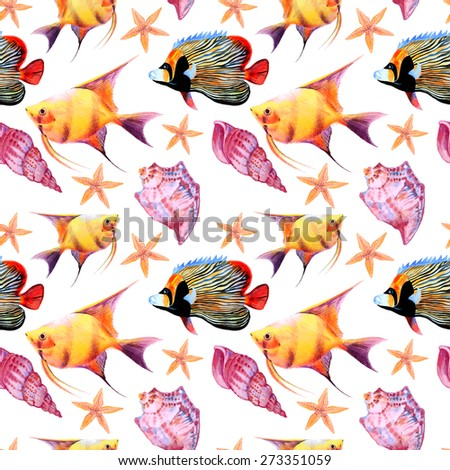 Vector seamless watercolor tropical fish pattern - stock vector