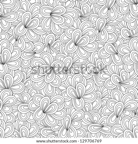 Vector seamless wave hand-drawn vintage pattern - stock vector
