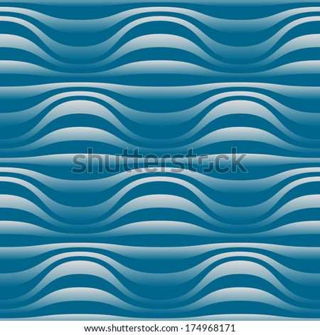 Vector seamless wavy striped pattern with spherical volume shapes. Simple abstract background for print, web - stock vector