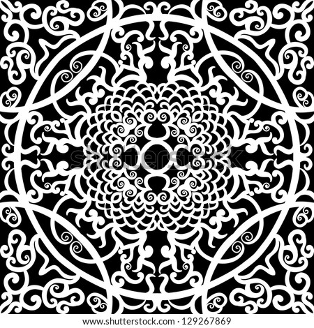 vector seamless white and black  traditional floral pattern background