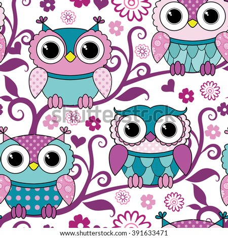Vector seamless white pattern with owls. Pink owls on tree. - stock vector