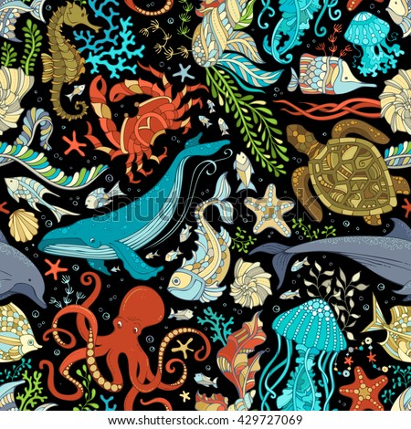 Vector seamless wild sea life pattern. Colorful octopus, whale, dolphin, turtle, fish, starfish, crab, shell, jellyfish, seahorse, algae on black background. Underwater ocean animals and plants. - stock vector