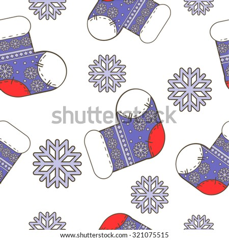 Vector seamless winter  Christmas pattern with bright  socks and snowflakes in white