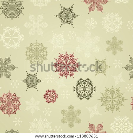 Vector Seamless Winter Pattern with Snowflakes, fully editable eps 8 file with clipping mask - stock vector