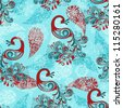 vector seamless winter pattern with stylized peacocks and snowflakes - stock photo