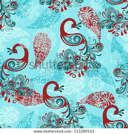 vector seamless winter pattern with stylized peacocks and snowflakes - stock vector