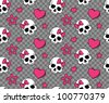 vector seamless with hearts and skulls - stock vector
