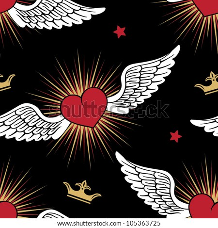vector seamless with hearts and wings - stock vector
