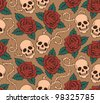 vector seamless with roses and skulls - stock vector