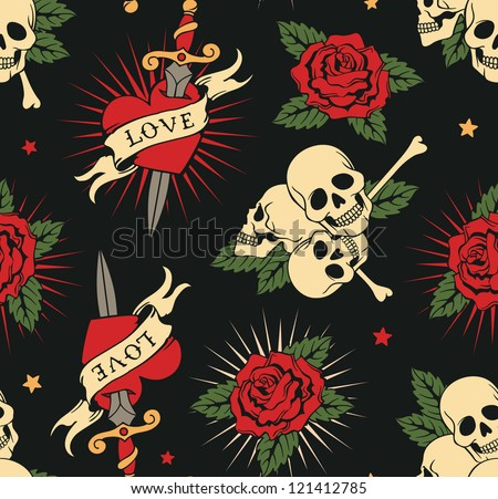 vector seamless with roses, hearts and skulls - stock vector