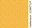 Vector seamless yellow pattern with interweaving of light linear concentric circles. Simple ornamental illustration with stylized texture of covering. Abstract background for textile, print, web - stock vector