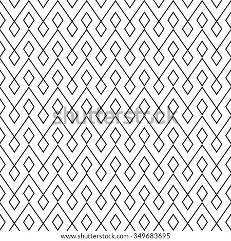 vector seamless zigzag pattern. endless texture black and white. abstract geometric ornament background.  - stock vector