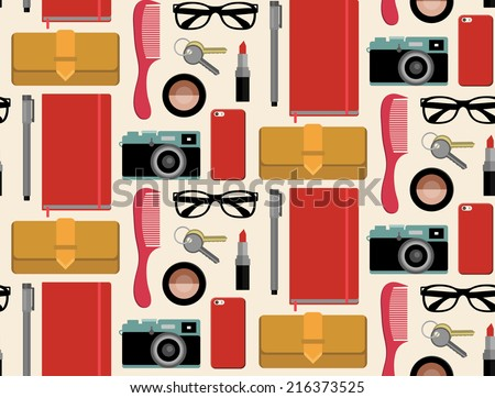 Vector seamlss pattern of content of woman's bag with comb, purse, cosmetic, keys, liner, notepad, mobile phone, camera, sunglasses, ribbon in flat style. Glamorous ornament What is inside my bag - stock vector