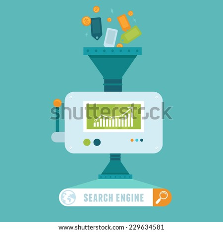 Vector search engine concept in flat style -  - stock vector