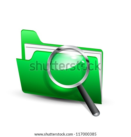 Vector  search green folder with magnifying glass - stock vector