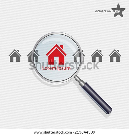 Vector searching for house of home. - stock vector